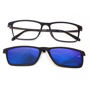 203 Matte Black Blue Mirror frames with Magnetic Polarised Clip On